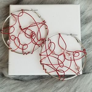 Handcrafted wire swarovski crystal hoop earrings